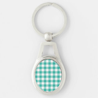 Green  And White Gingham Check Pattern Silver-Colored Oval Metal Keychain