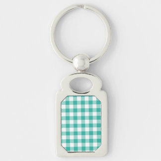 Green  And White Gingham Check Pattern Silver-Colored Rectangular Metal Keychain