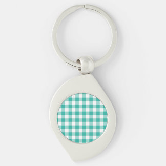 Green  And White Gingham Check Pattern Silver-Colored Swirl Metal Keychain
