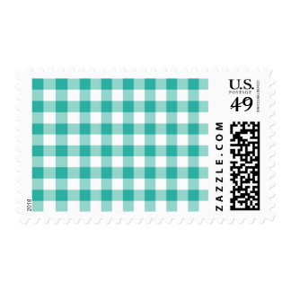 Green And White Gingham Check Pattern Postage