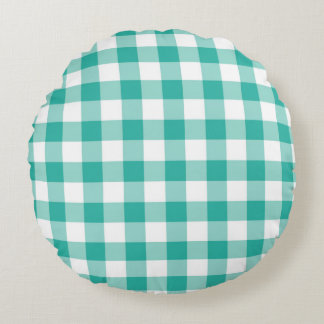 Green And White Gingham Check Pattern Round Pillow