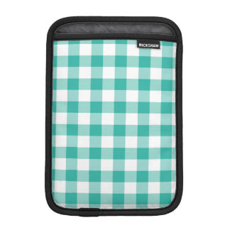 Green And White Gingham Check Pattern Sleeve For iPad Mini