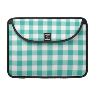 Green And White Gingham Check Pattern Sleeve For MacBooks