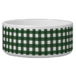 Green and White Gingham Dog Bowl