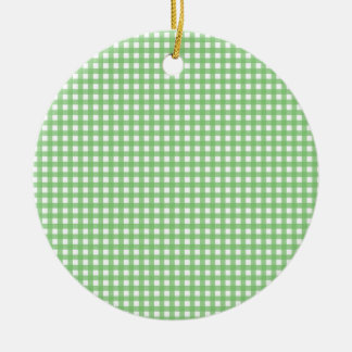 Green and White Gingham Christmas Tree Ornament