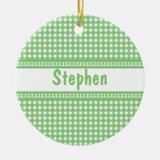 Green and White Gingham Ornament