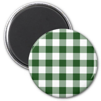 Green and White Gingham Pattern 2 Inch Round Magnet
