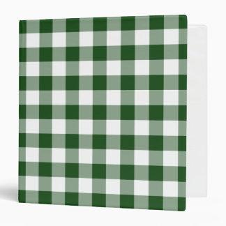 Green and White Gingham Pattern 3 Ring Binder