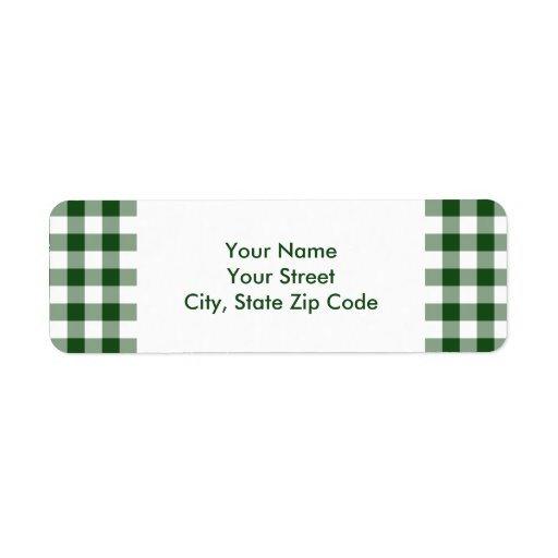 Green and White Gingham Pattern address label