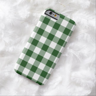 Green and White Gingham Pattern Barely There iPhone 6 Case
