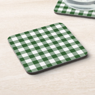 Green and White Gingham Pattern Beverage Coaster