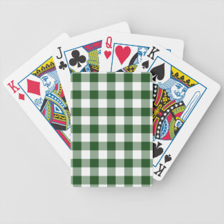 Green and White Gingham Pattern Bicycle Playing Cards