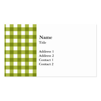 Green and White Gingham Pattern Business Cards