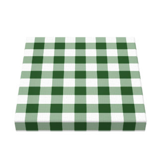 Green and White Gingham Pattern Canvas Print