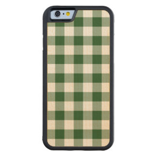 Green and White Gingham Pattern Carved® Maple iPhone 6 Bumper