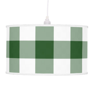 Green and White Gingham Pattern Ceiling Lamp