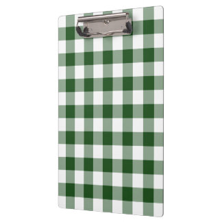 Green and White Gingham Pattern Clipboard