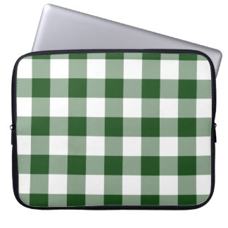 Green and White Gingham Pattern Computer Sleeve
