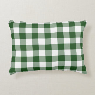 Green and White Gingham Pattern Decorative Pillow