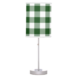 Green and White Gingham Pattern Desk Lamp