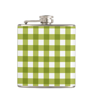 Green and White Gingham Pattern Hip Flasks