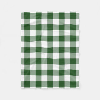 Green and White Gingham Pattern Fleece Blanket