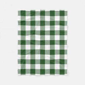 Green and White Gingham Pattern Fleece Blanket