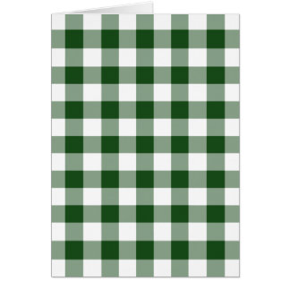 Green and White Gingham Pattern Holiday Card
