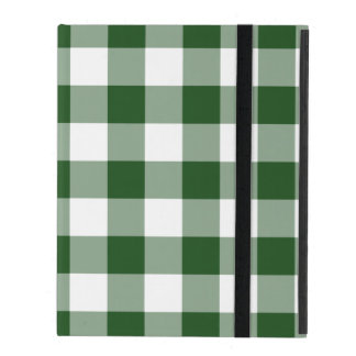 Green and White Gingham Pattern iPad Case