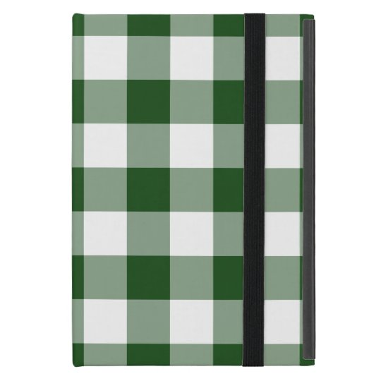 Green and White Gingham Pattern iPad Mini Case