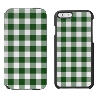 Green and White Gingham Pattern iPhone 6/6s Wallet Case