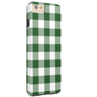 Green and White Gingham Pattern iPhone 6 Plus Case