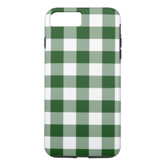 Green and White Gingham Pattern iPhone 7 Plus Case
