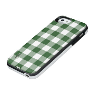 Green and White Gingham Pattern iPhone SE/5/5s Battery Case