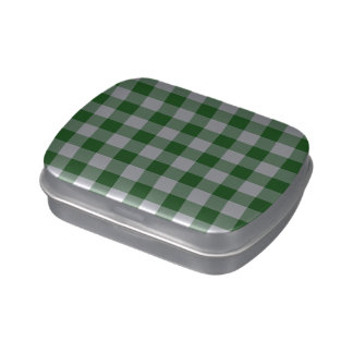 Green and White Gingham Pattern Jelly Belly Tin