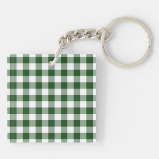 Green and White Gingham Pattern Keychain