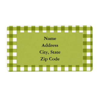 Green and White Gingham Pattern Custom Shipping Labels