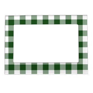 Green and White Gingham Pattern Magnetic Picture Frame