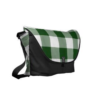 Green and White Gingham Pattern Messenger Bag