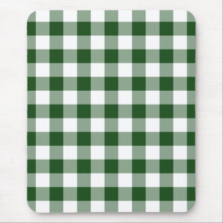 Green and White Gingham Pattern Mouse Pad