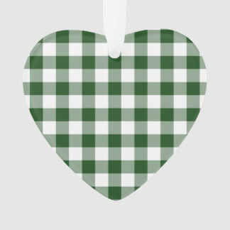 Green and White Gingham Pattern Ornament