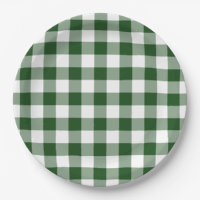 Green and White Gingham Pattern Paper Plate