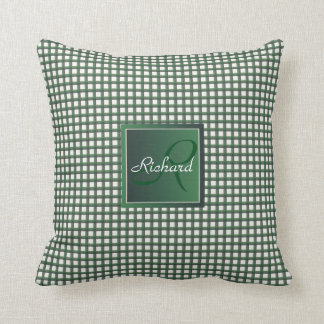 Green and White Gingham Pattern Personalized Name Throw Pillow