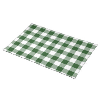 Green and White Gingham Pattern Place Mats