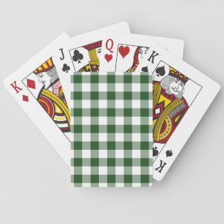 Green and White Gingham Pattern Poker Deck