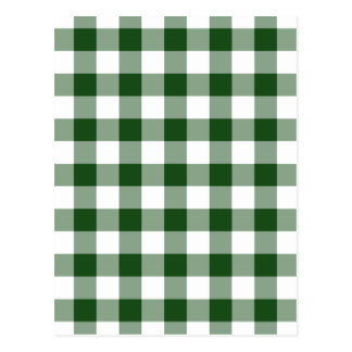 Green and White Gingham Pattern Postcard