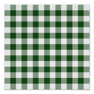 Green and White Gingham Pattern Poster
