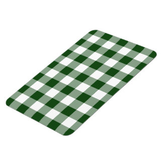 Green and White Gingham Pattern Rectangular Photo Magnet