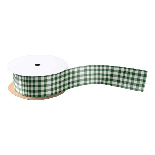 Green and White Gingham Pattern Satin Ribbon