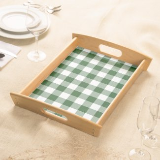 Green and White Gingham Pattern Serving Tray